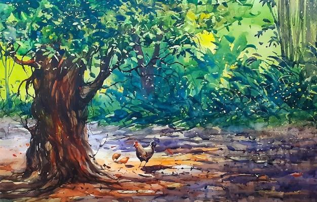 Paesaggio della natura dell'acquerello