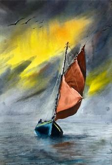 Illustrazione della barca della pittura della natura dell'acquerello sull'illustrazione del fiume