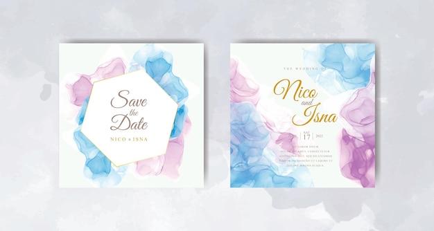Set di biglietti d'invito per matrimonio acquerello blu navy e viola
