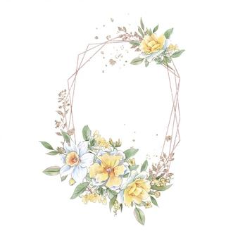 Cornice geometrica dorata vintage neo dell'acquerello con un bellissimo mazzo di rose