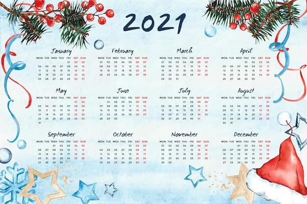 Calendario dell'acquerello del nuovo anno 2021