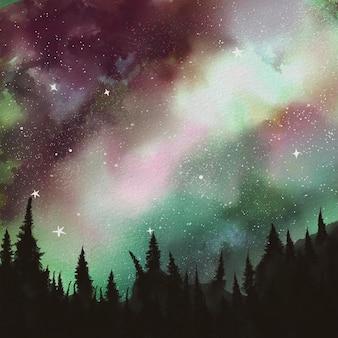 Paesaggio notturno dell'acquerello con le montagne. illustrazione di natura disegnata a mano