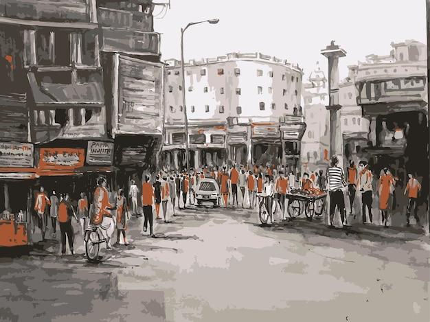 Illustrazione disegnata a mano di sguardo di paesaggio urbano più trafficato del xix secolo dell'acquerello