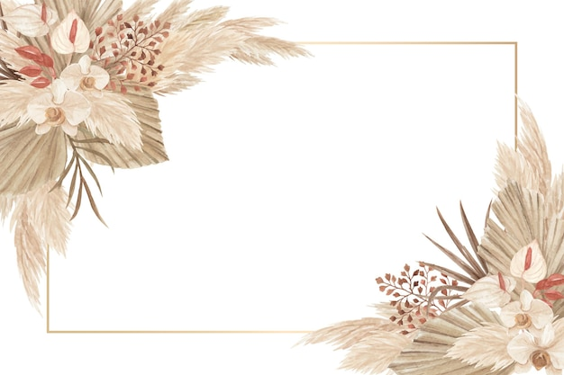 Cornice tema oasi dell'acquerello con fiori secchi