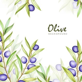 Acquerello oliva cornice multiuso sfondo