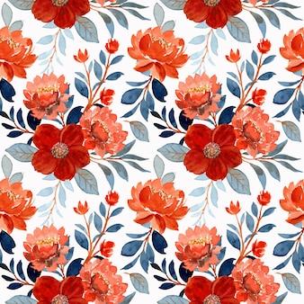 Acquerello fiori d'arancio e foglie blu senza cuciture