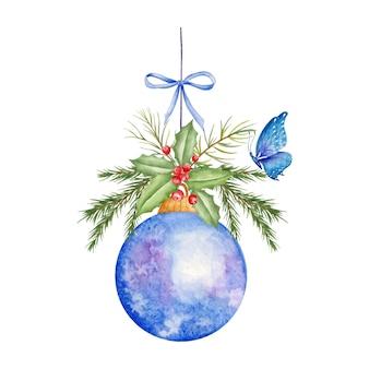 Decorazione ornamentale della palla di natale dell'acquerello con la farfalla
