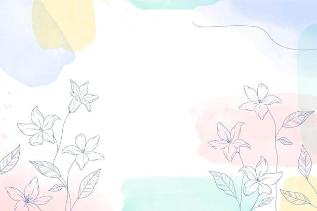 Fondo dipinto ad acquerello con fiori disegnati a mano