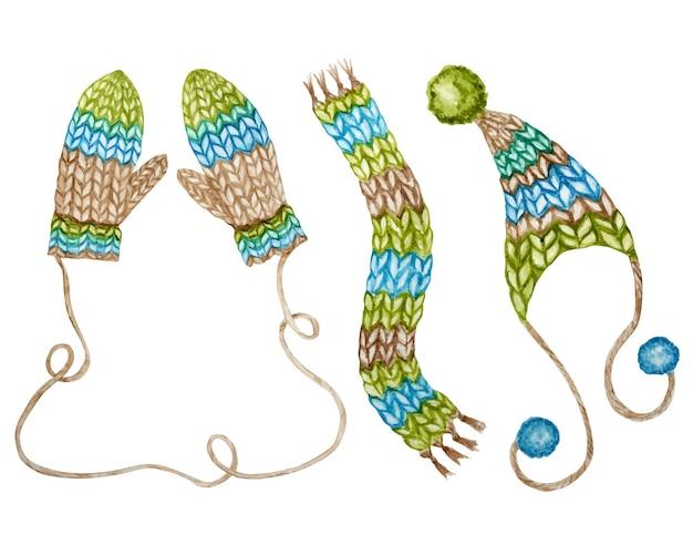 Set di vestiti di lana invernale lavorati a maglia dipinti ad acquerello. guanto, sciarpa, berretto con pompon. cappello lavorato a maglia disegnato a mano, in colore marrone verde blu.