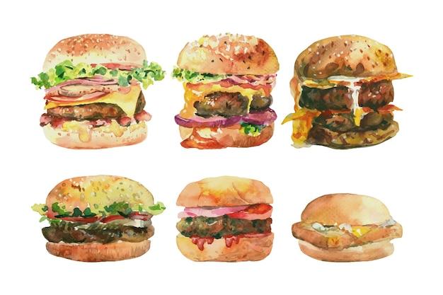 Dipinto ad acquerello di 6 hamburger. Vettore Premium