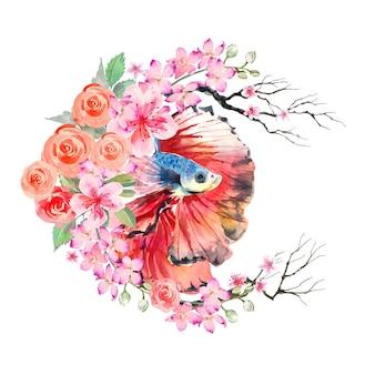 La pittura ad acquerello di pesce betta decora in stile cinese con fiori di rosa e ramoscelli secchi Vettore Premium