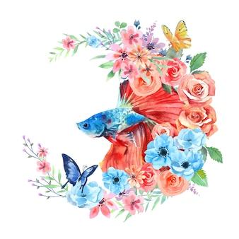 La pittura ad acquerello di pesce betta decora con fiori di rosa e farfalle.