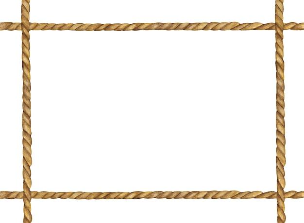 Pittura ad acquerello del telaio in corda marrone.