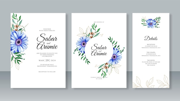Dipinto ad acquerello floreale e contorno di foglie per un bellissimo set di modelli di invito a nozze