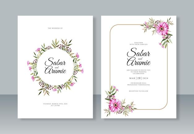 Dipinto ad acquerello di foglie e fiori per modello di invito a nozze