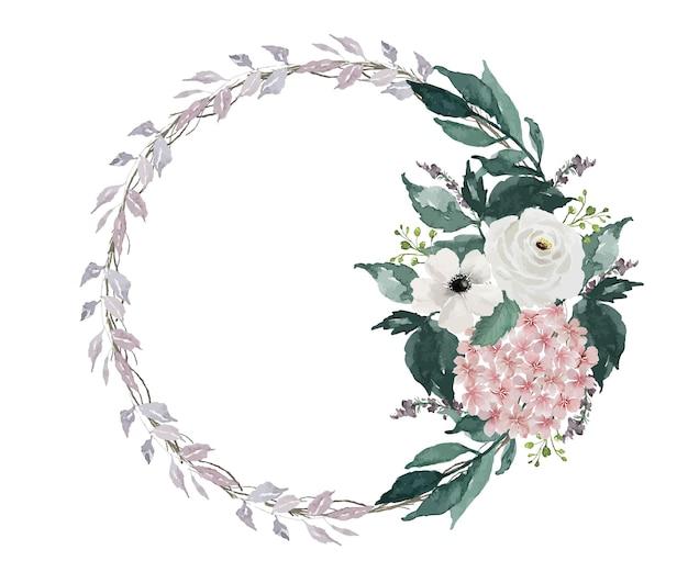 Dipinto ad acquerello vintage leggero piccolo fiore e corona di foglie verdi