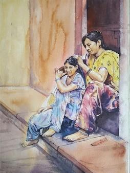 Pittura ad acquerello madre e figlio