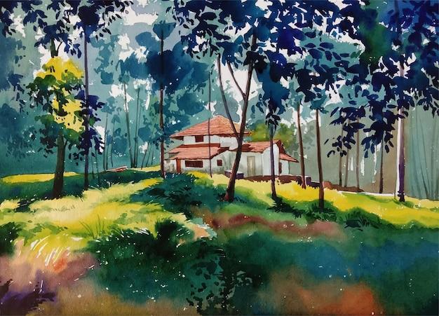 Natura della pittura ad acquerello e autunno disegnato a mano nell'illustrazione del paesaggio del parco