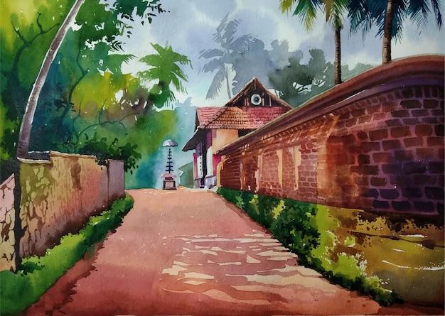Natura della pittura ad acquerello e vista disegnata a mano della città vecchia nell'illustrazione del paesaggio della città
