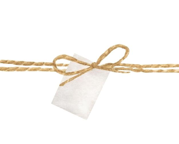 Pittura ad acquerello di arco in corda e cartellino bianco.