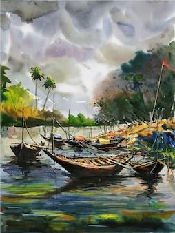 Barca a vela di pittura ad acquerello sull'illustrazione del paesaggio fluviale