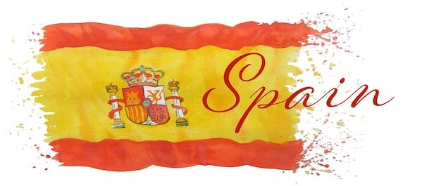 Pittura ad acquerello spagna bandiera giorno del movimento per l'indipendenza per biglietto di auguri