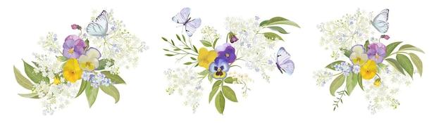 Collezione di bouquet di fiori viola del pensiero dell'acquerello. insieme floreale della molla di vettore viola, illustrazione della farfalla. elementi di design della decorazione della pianta viola della fioritura estiva