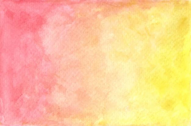 Struttura verniciata rossa e gialla pastello dell'acquerello. sfondo astratto.