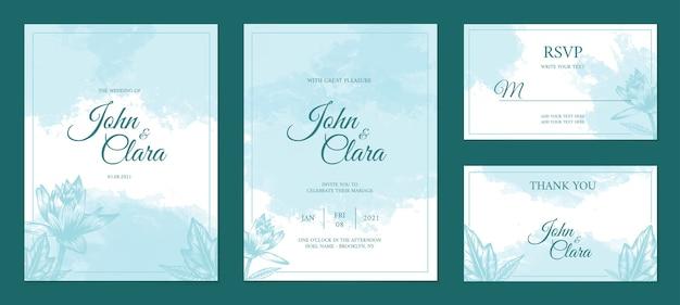 Modello stabilito della carta di nozze pastello dell'acquerello