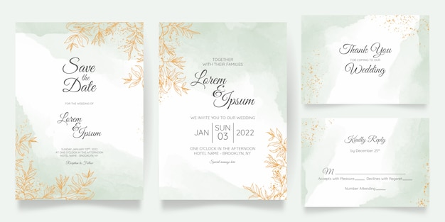 Il modello della carta dell'invito di nozze pastello dell'acquerello ha messo con la decorazione floreale dorata
