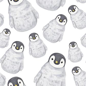 Cucciolo di pinguino grigio modello acquerello con becco giallo