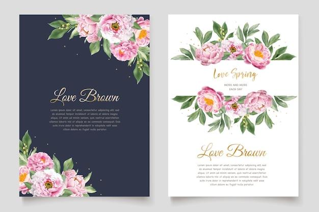 Set di carte invito peonie acquerello