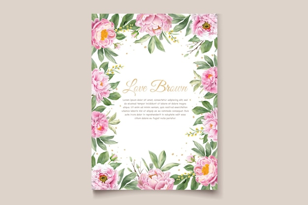 Carta di invito peonie acquerello
