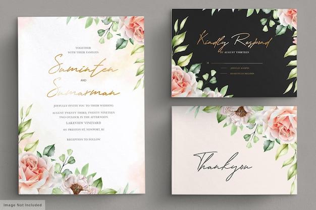 Set di carte invito acquerello peonie e rose