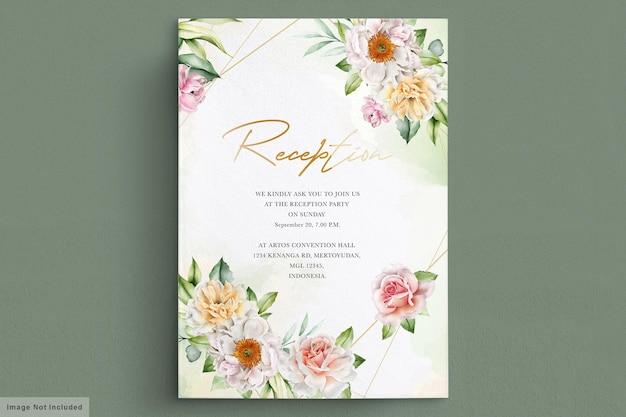 Carta di invito peonie e rose dell'acquerello