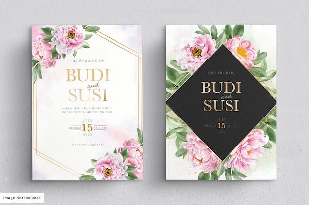 Set di carte invito a nozze acquerello peonie