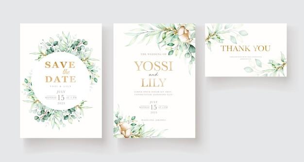 Set di carte invito acquerello peonia ed eucalipto
