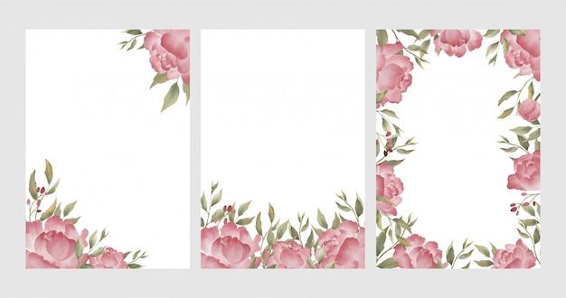 Fondo del telaio del fiore della peonia dell'acquerello Vettore Premium