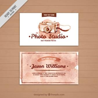Acquerello studio fotografico biglietto da visita Vettore Premium
