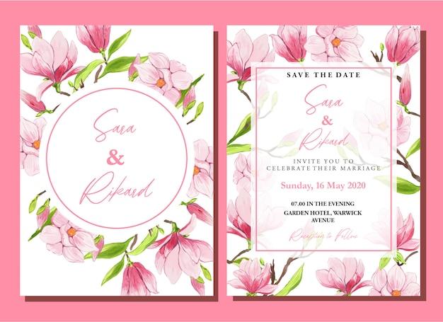 Insieme del modello dell'invito di nozze della magnolia cinese rosa dell'acquerello
