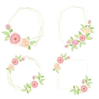 Bouquet di fiori di rosa inglese rosa dell'acquerello con cornice ghirlanda geometrica dorata