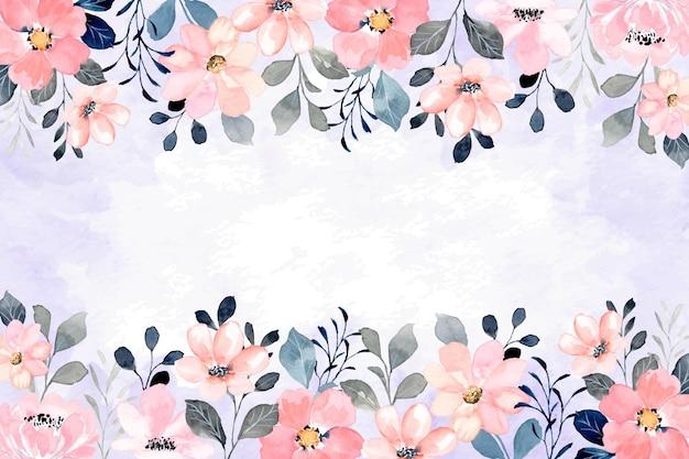 Sfondo cornice floreale rosa dell'acquerello