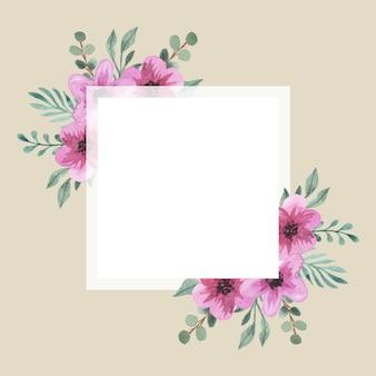 Cornice quadrata con bouquet di fiori rosa acquerello