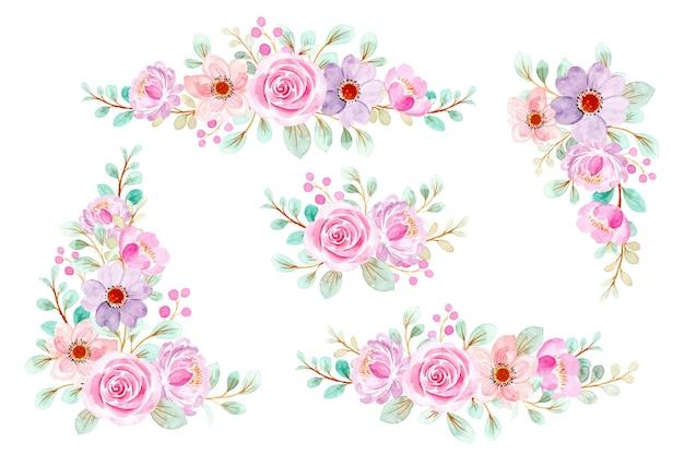 Collezione di bouquet di fiori rosa dell'acquerello Vettore Premium