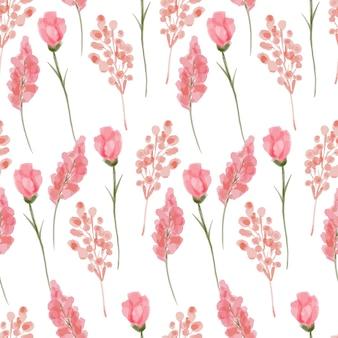 Modello senza cuciture ripetizione fiore rosa acquerello