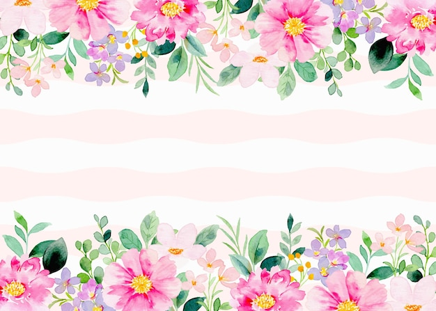Fiori rosa acquerello su sfondo a righe