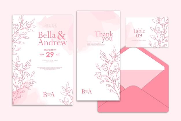 Collezione di modelli di invito di matrimonio floreale disegnato a mano rosa acquerello