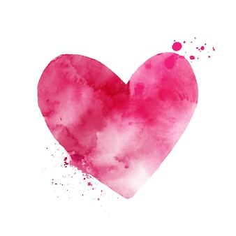 Acquerello rosa a forma di cuore arte dipinta a mano isolato