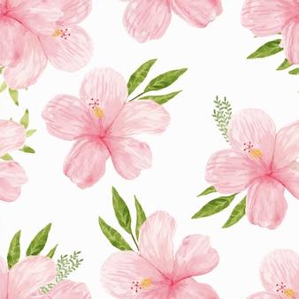 Modello senza cuciture del fiore di ibisco rosa dell'acquerello Vettore Premium