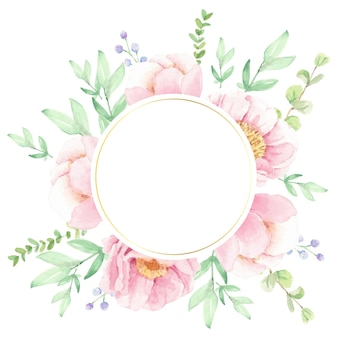 Corona di disposizione del bouquet di fiori di peonia rosa dell'acquerello con cornice del cerchio dorato
